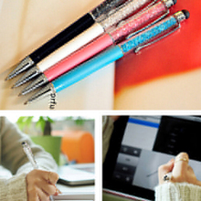 Best Selling 2 In 1 Crystal Ultra-soft Writing Stylus Touch Screen Pen For iPhone Tablet  5JPI 7CJN(China (Mainland))