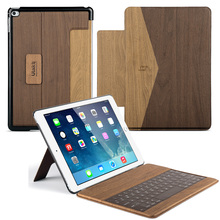 """ULAK Wood Pattern Smart Case with Detachable Wireless Bluetooth Keyboard Case for Apple iPad Air 2 (9.7"""" inch)(China (Mainland))"""