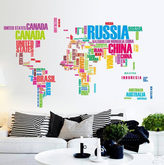 122cm*74cm large world map wall stickers original creative letters map wall art bedroom home decorations wall decals(China (Mainland))