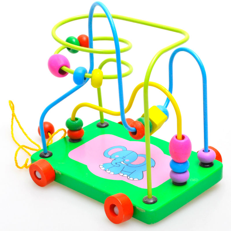 New 2014 Educational Math Game Toys Cartoon Colorful Wooden Activity Cube Bead Maze Puzzle Abacus Shape toy For Kids Baby 1 pcs(China (Mainland))