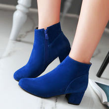 Mavi Siyah Bej yarım çizmeler Kadınlar için Rahat Kalın Topuk Sonbahar Kış Çizmeler Moda Yuvarlak Ayak Patik 2020 Yeni Ayakkabı Artı boyutu(China)