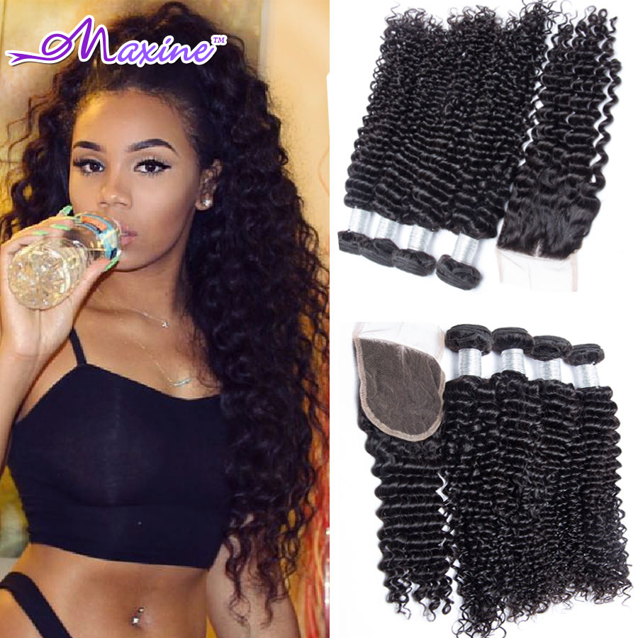 Mink Indian Curly Virgin Hair With Closure 4 Bundles 7A Deep Wave Indian Virgin Hair With Closure Human Hair Rosa Hair Products