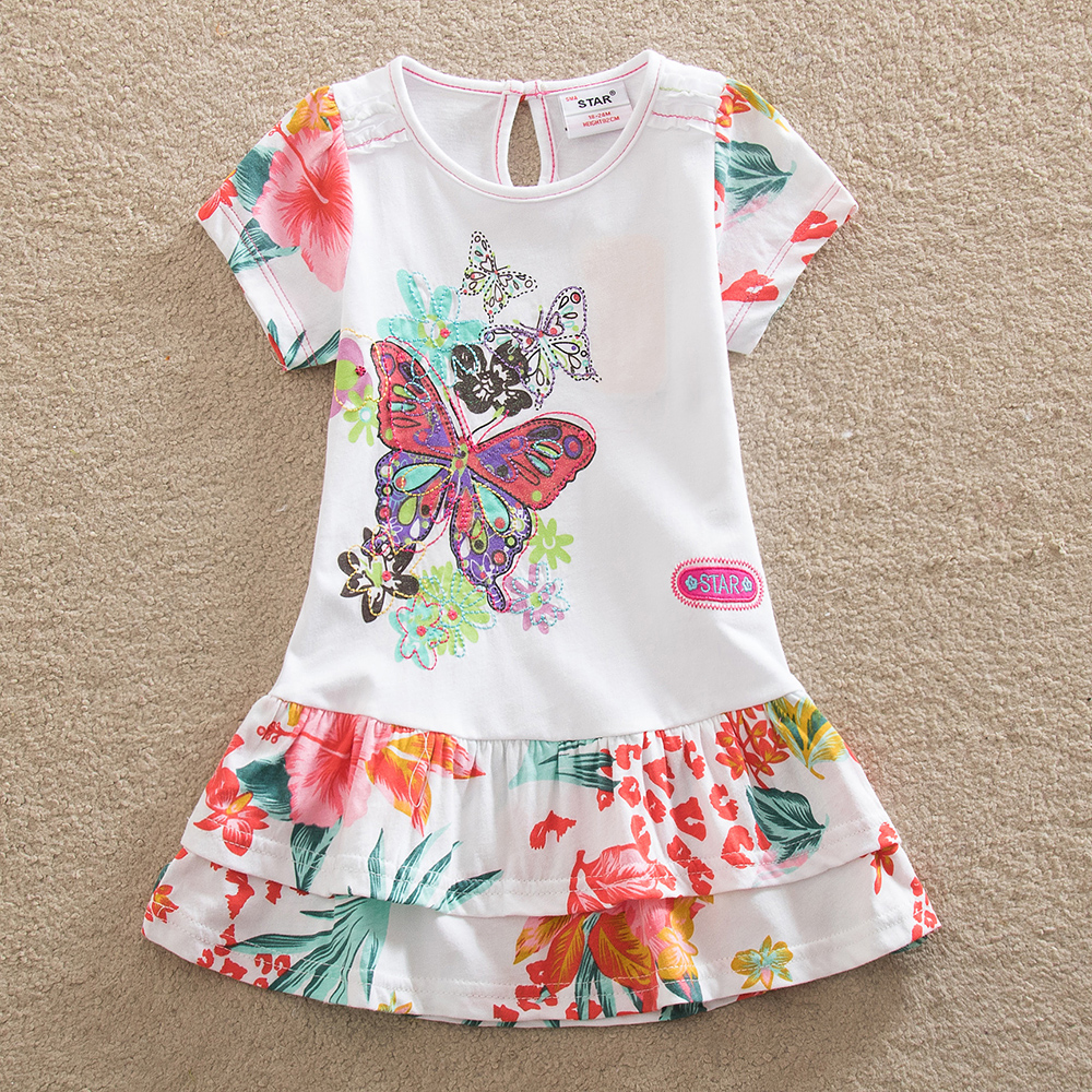 Retail New baby girl clothes college style summer girls dresses embroidered bow kids clothes short sleeve dress clothing S66033(China (Mainland))