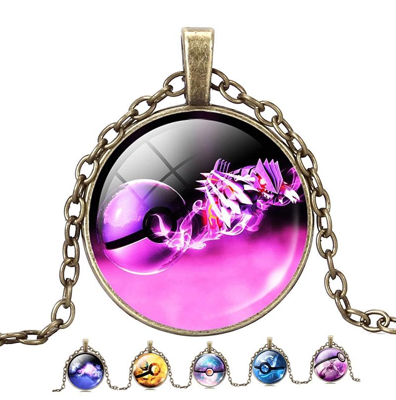 Wholesale Pokemon Pokeball Pendant Necklaces Fashion Jewelry For Women Men Bronze Chain Dome Glass Cabochon Statement Necklaces(China (Mainland))