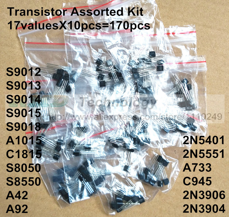 Transistor Assorted Kit 17valuesX10pcs=170pcs TO-92 Transistors S9012 S9013 S9014 A1015 C1815 S8050 S8550 2N3904 2N3906 A42 A92(China (Mainland))
