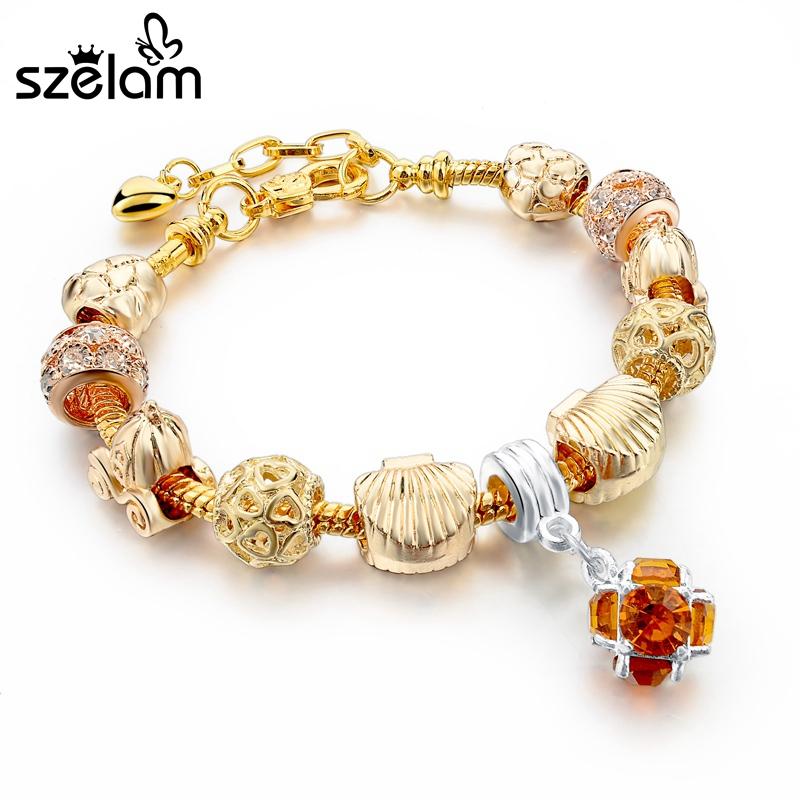 2016 hot jewelry gold plated bracelet for women diy charm bracelets