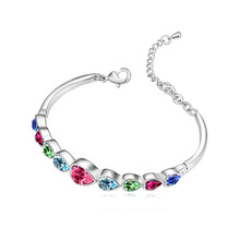 18k gold Austrian Crystal heart multi Cuff bangle Bracelet Bangle New arrival 9 hearts charm brand  fashion Jewelry 80148(China (Mainland))