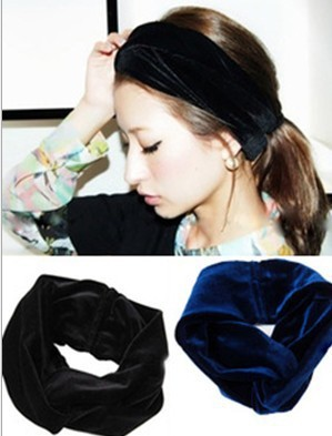 2015 new wholesale fashion winter peluche velvet fabric elastic headbands hair accessories hairbands6pcs/lot(China (Mainland))