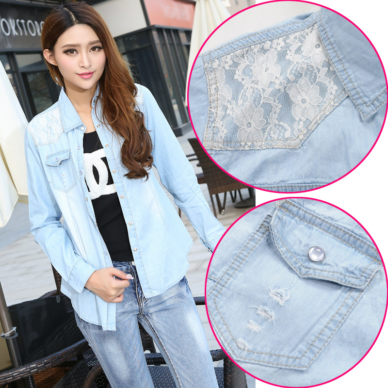 2015 new women's lace denim shirt tailor jacket shirt size lady personality(China (Mainland))