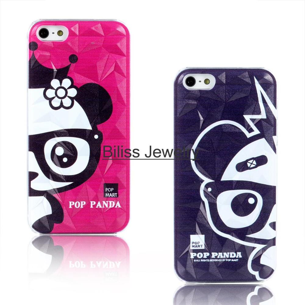 3D Cute Rhombus Pop Panda Slim Hard Case Cover Accessory Phone Cases For Apple iPhone 5 5S Men Women Gift 2 colors(China (Mainland))