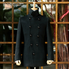 Hot-selling front line black wool coat outerwear jdv(China (Mainland))