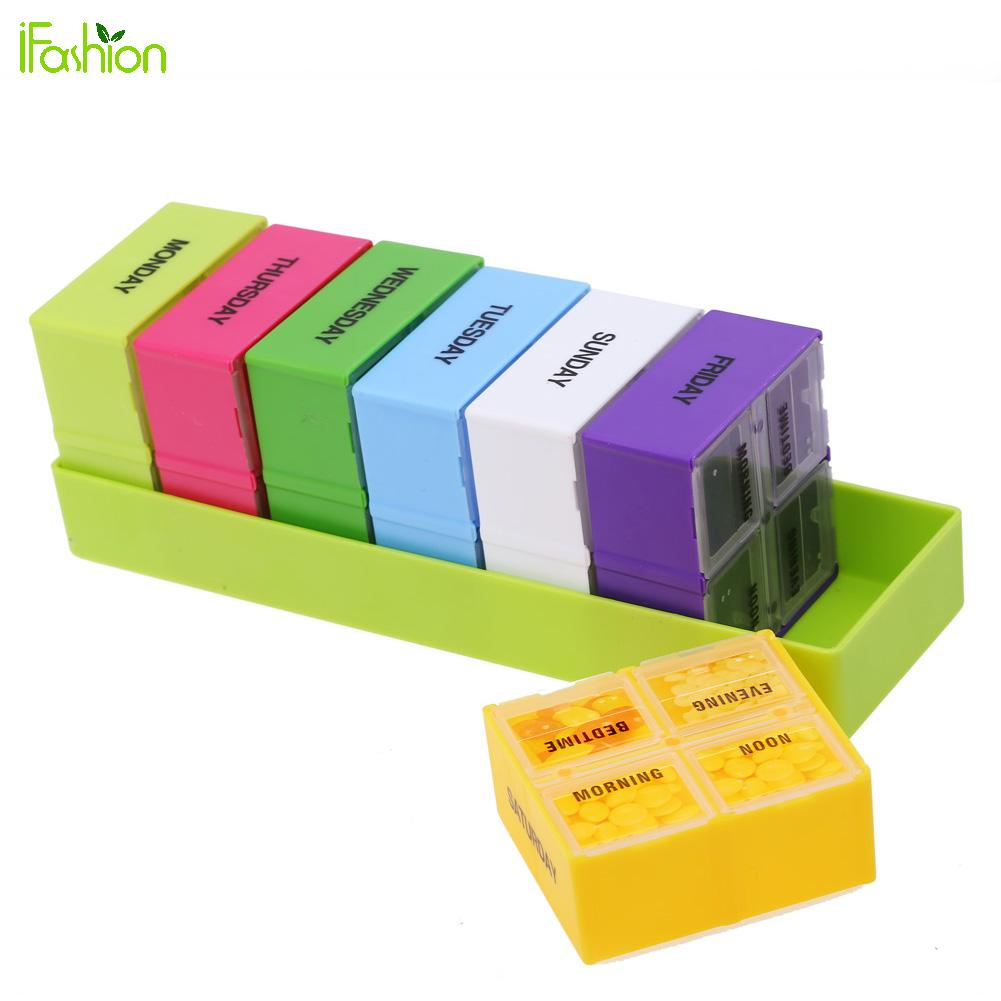 Weekly 7 Days Portable Pill Box Colorful Plastic Holder 28 Slot Pill Cases Organizer Splitters Medicine Container Health Care