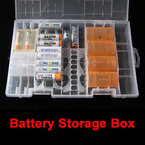 Useful Rack Transparent AAA AA C D 9V Hard Plastic Battery Case Holder Storage Box Battery