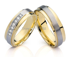 top quality custom design made 18k gold plated Men's and Women's Wedding Band engagement rings Sets for couples