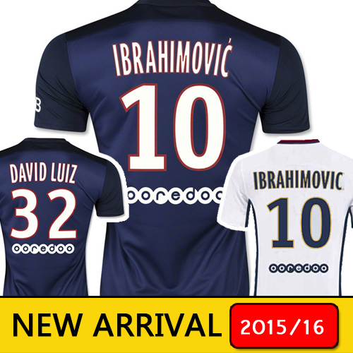 France 15 16 T.SILVA CABAYE Soccer Jersey 2015 2016 IBRAHIMOVIC DAVID LUIZ Jersey CAVANI Home FOOTBALL SHIRT maillot de foot(China (Mainland))