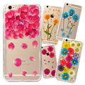 New Floral Sticking Dried Flowers TPU Soft Back Cover Case for iPhone 6 6s Plus 5
