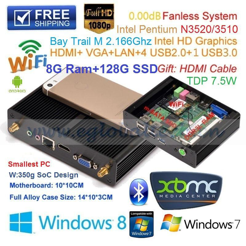 Мини ПК Eglobal/OEM Intel Pentium N3510 8G 128G SSD XBMC Windows 1080P V7-N3510 мини пк eglobal oem intel pentium n3510 4g 16g ssd itx ultral nettop 1 hdmi 1 usb3 0 4 usb2 0 v7 n3510