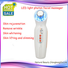 Free shipping ! Portable  three colors led light photon 5 in 1 beauty care electronics ultrasonic face massager