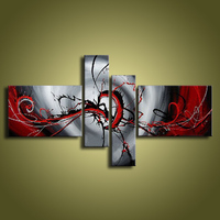 oil paintings on canvas red black white home decoration Modern abstract Oil Painting wall   XD4-019