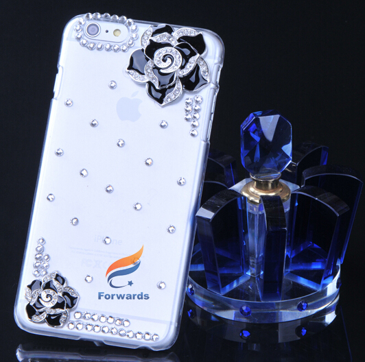 5.5 inch phone case 3D Black Rose Luxury Rhinestone Diamond PC cell phone cover for iPhone 6 plus free shipping10pcs/1lot(China (Mainland))