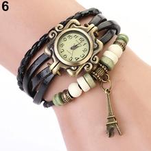 Fashion Vintage ladies women watches Eiffel Tower Leather Bracelet Quartz Watch 14CP