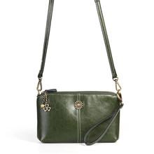 Couro genuíno das mulheres bolsa de ombro bolsa de couro de cera de óleo crossbody bolsa de luxo pequena bolsa feminina mensageiro saco de embreagem diária(China)