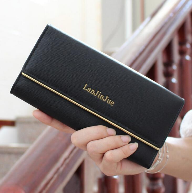 Fashion Designer High Quality Leather Long Trifold Purse Womens Wallet Clutch Carteira Women Billfold Card Holder<br><br>Aliexpress