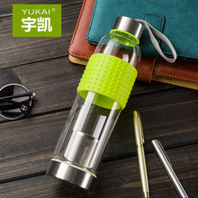 2 end use my bottle New Water Bottle with Silicon nonslip  insulated ring  high borosilicate glass Transparent Portable cup