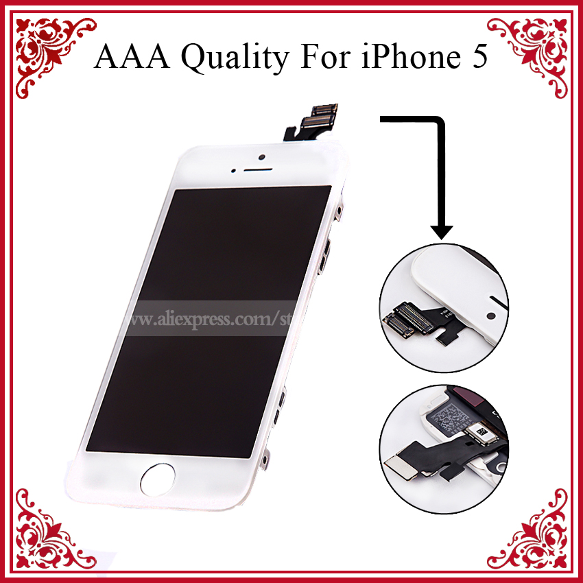 White and Black For Screen iPhone 5 Display LCD 10PCS/LOT DHL Free,No Dead Pixel Original LCD Digitizer(China (Mainland))