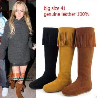 Tassel Women Boots Genuine Leather Knee High Boots Round Toe Side Zipper High Women Flat Boots Warm Botas Femininas Size 41(China (Mainland))