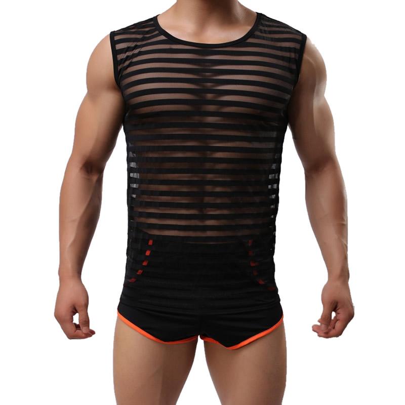Brand Men Sexy Undershirts Mesh Sheer Transparent Sleeveless T shirt Tops Mens Waist corset underwear shirt Body Shaper trainer