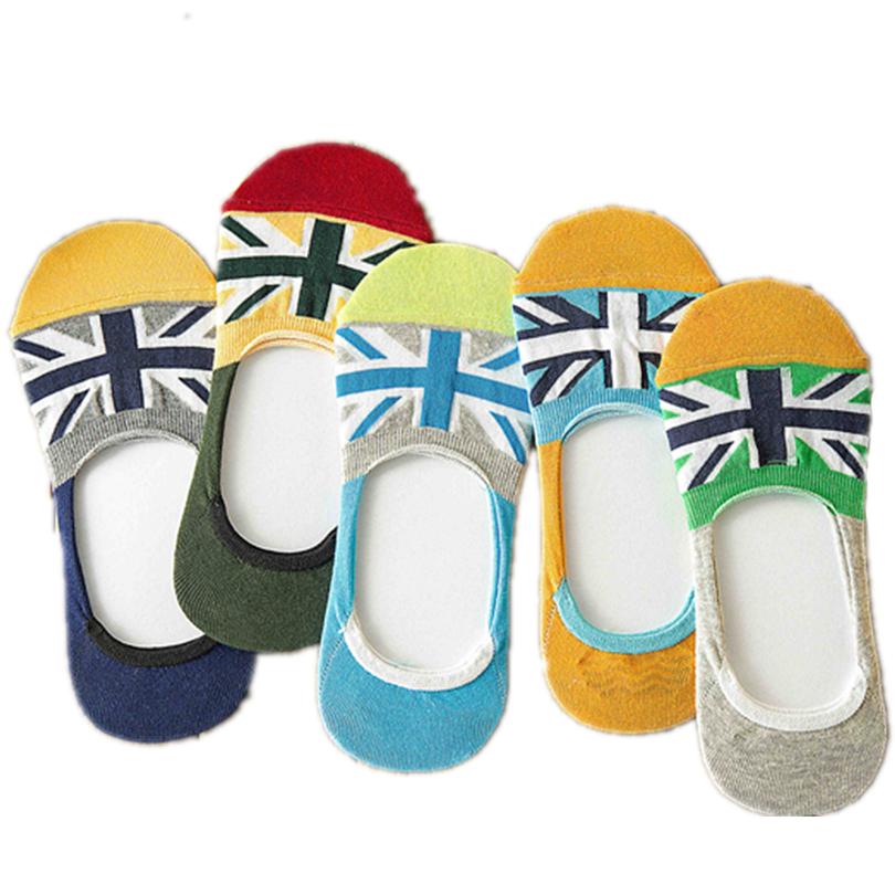5pairs New 2016 Summer Casual Men Sport Socks Flag Cozy cotton Boat Socks High Quality male socks(China (Mainland))
