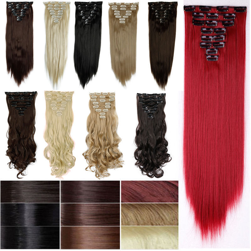 Factory Price 24inches 66CM Real Thick Clip In Hair Extensions Long Straight Full Head Hair Extentions Black Brown Blonde Red(China (Mainland))