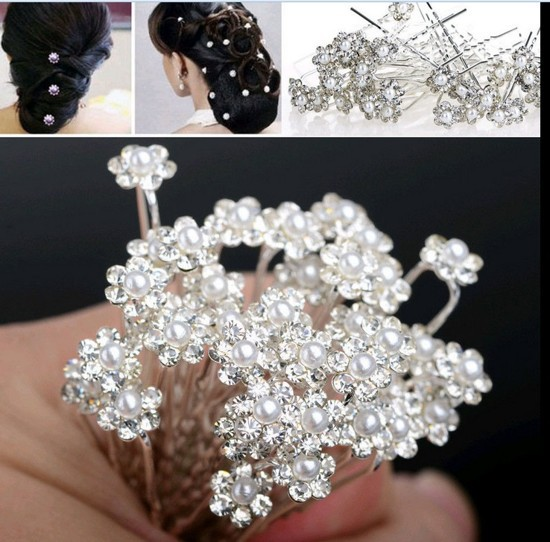 40pcs wholesale wedding bridal pearl flowers crystal hair