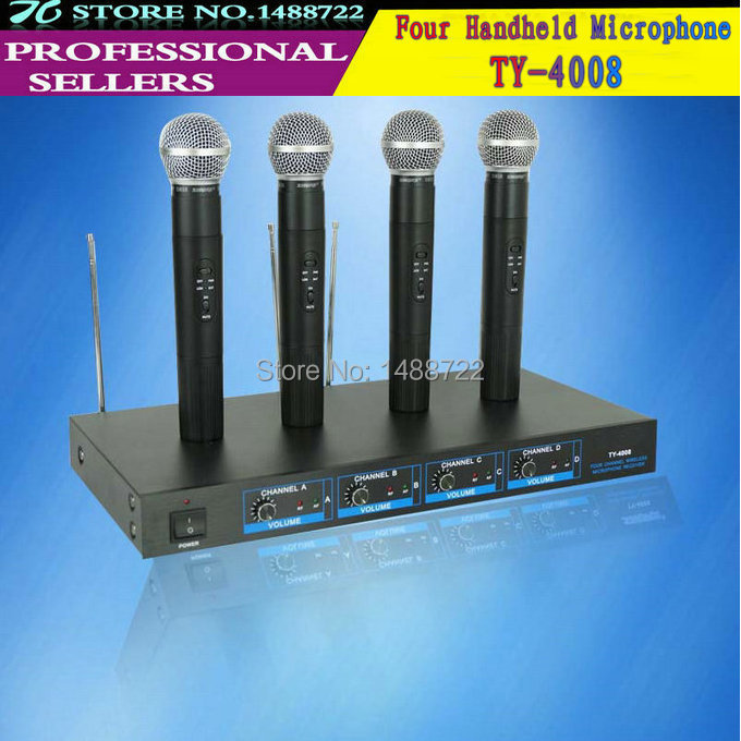 Free shipping Multe Channels wirelss microphone Professional 4 channels handheld mic(China (Mainland))