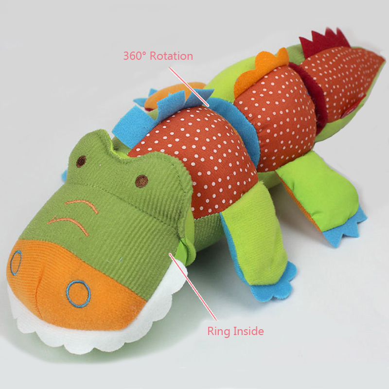 New Baby Toy Plush Twist Crocodile Big Size Soft Musical Baby Rattle Ring Bell Doll Educational brinquedos juguetes(China (Mainland))