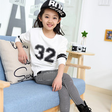 2016 Girls Sets Children Clothing Sportswear Kids Fashion Girls Sets Suits Children Coat Long Sleeve Tops + Teenage Pants 2 Pcs