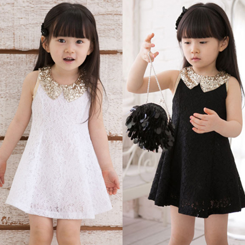 Dress Girl Princess 2016 Summer New Fashion Lace Sleeveless Girls Party Dress Sequin Collar Beautiful Kids Clothes Girls 2967W(China (Mainland))
