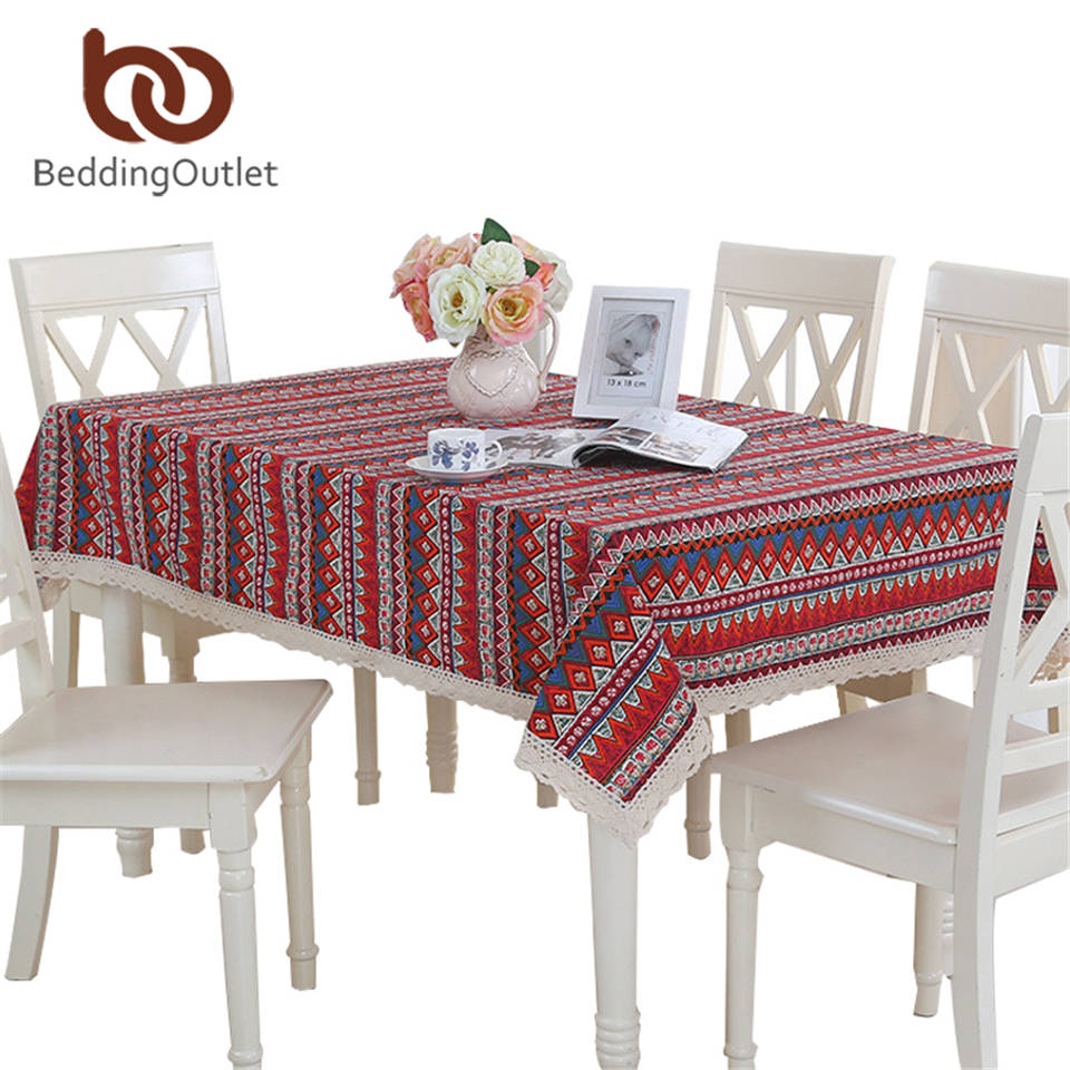 BeddingOutlet Red Tablecloth Geometric Bohemian Dining Table Cloth Cotton Linen Multi Sizes Lacy Table Cover Home Decor(China (Mainland))