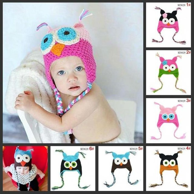33 color Best price - Handmade Knitted Crochet Baby Hat owl hat with ear flap Free shipping