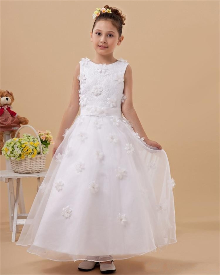 2015 Kids Gowns Scoop Kids Frock Design Vestidos Infantis Pageant Flower Girl Dresses Vestido De Daminha First Communion Dresses(China (Mainland))