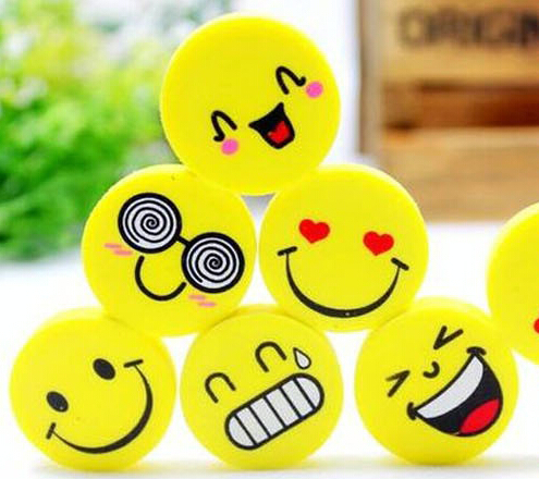 School supplies office supplies stationery cute Smiling face eraser Free shipping Funny pencil rubber Wholesale cartoon eraser