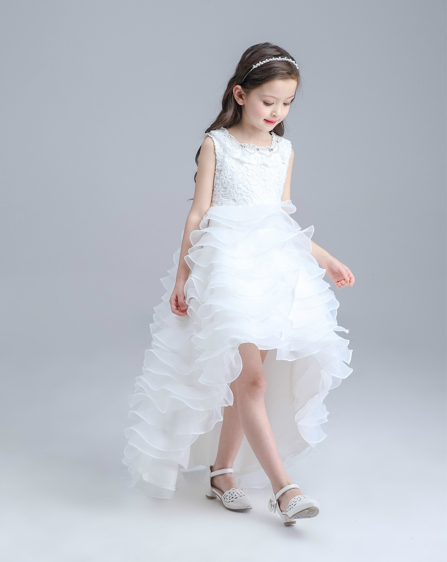 Teenage Long Tailed Girls Summer Dress Kids Girls Red White Wedding ...