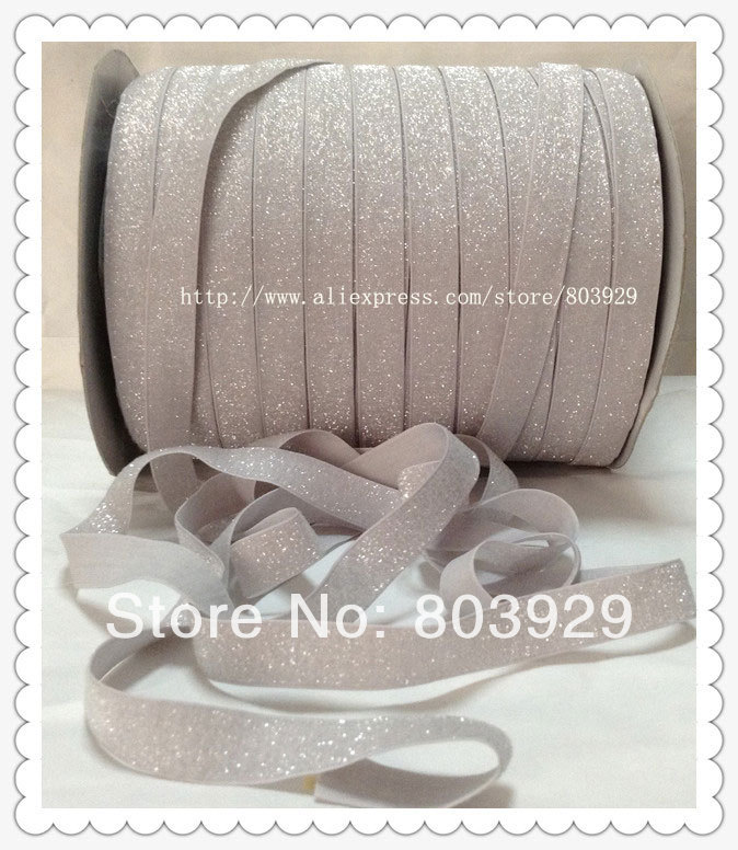 """(50yards/lot) Non - stretch 1.5"""" Frosted Light Silver Metallic Ribbon(China (Mainland))"""