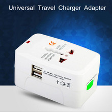 Buy Universal World Charger Adapter Plug one Travel Power Adapter Converter US/UK/AU/EU Plug Socket Electrical 2 USB for $3.50 in AliExpress store