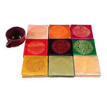 wholesale 9cm*9cm 30sets/180pcs Chinese Handmade Silk Square Embroiderd Cup-Mat Coasters(China (Mainland))