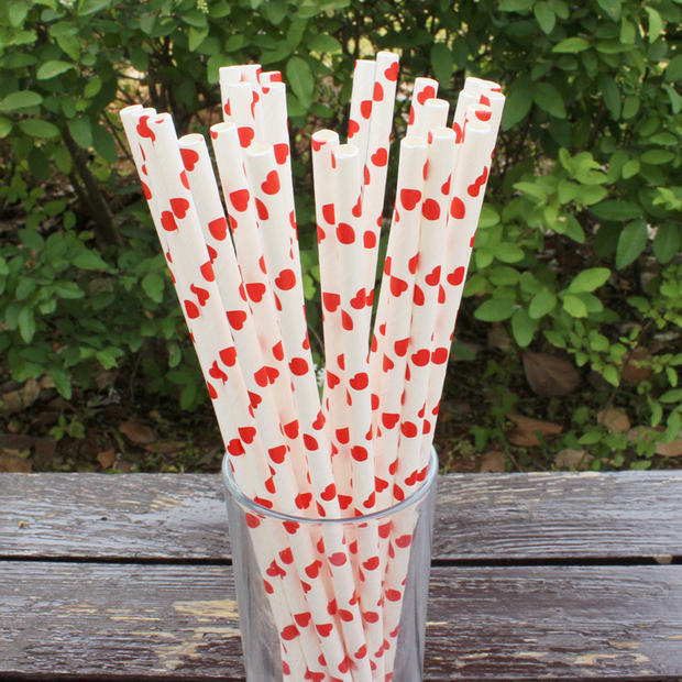 10 Inch Blue/Yellow/Green/Red Strip Paper Straws Red Heart Paper Straws Wedding Kids DIY Toy Accessoriess 100pcs/lot DEC038(China (Mainland))