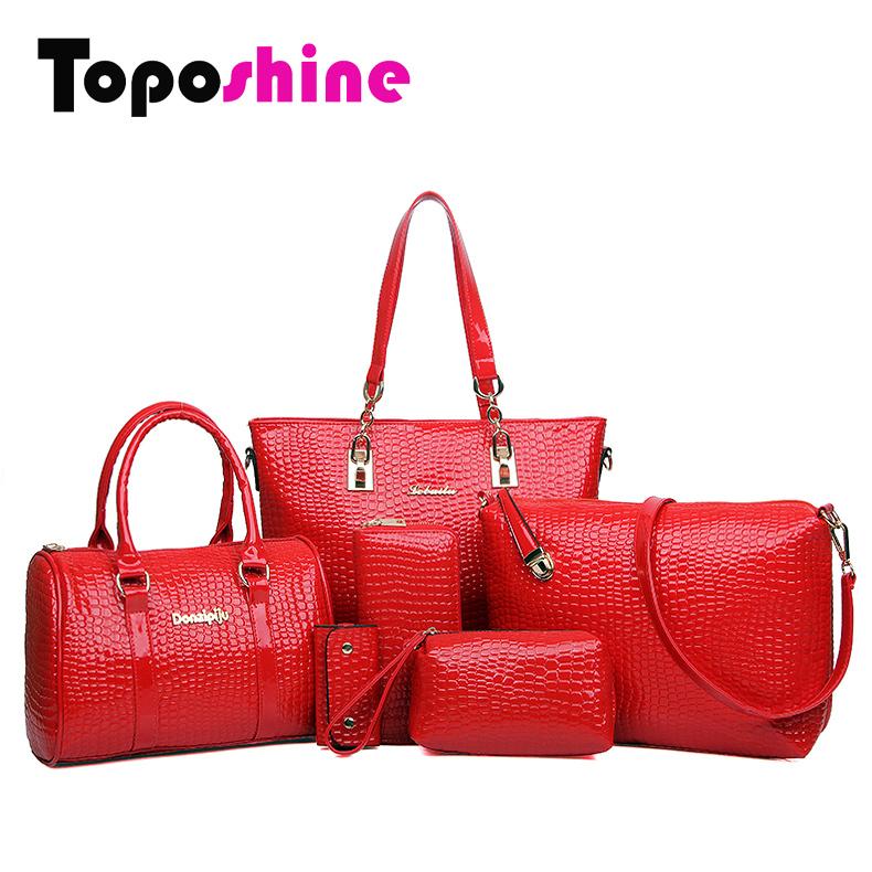 6 Bags Per Set Fashion Women Handbag Royal Stone Women Bags Crocodile Pattern PU Leather Shoulder Bags for Women Free Shipping(China (Mainland))