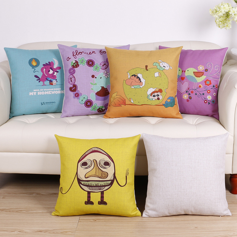 45cm Fresh Color Cartoon Fashion Cotton Linen Fabric Throw Pillow Hot Sale 18 Inch New Home Decor Sofa Car Cushion Office Nap FR