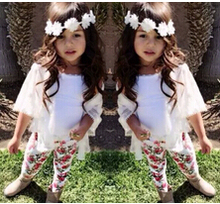 retail 2015 spring autumn new arrival girls clothing set shirt+hole jeans 2pcs kids girl clothes suits childrens clothing(China (Mainland))